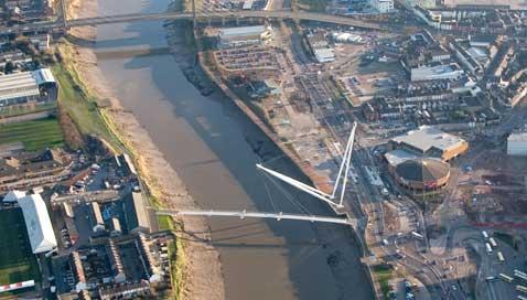Aerial view of the new footbridge